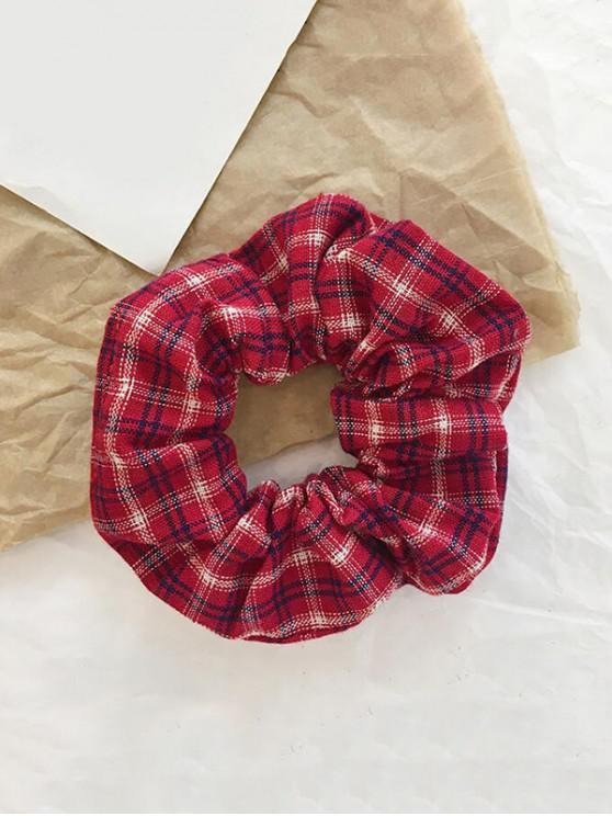 fashion College Plaid Fabric Elastic Scrunchy - RED