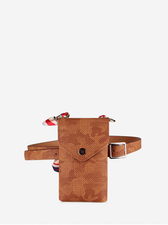 affordable Ribbon Decorate Street Style Crossbody Bag - CAMEL BROWN