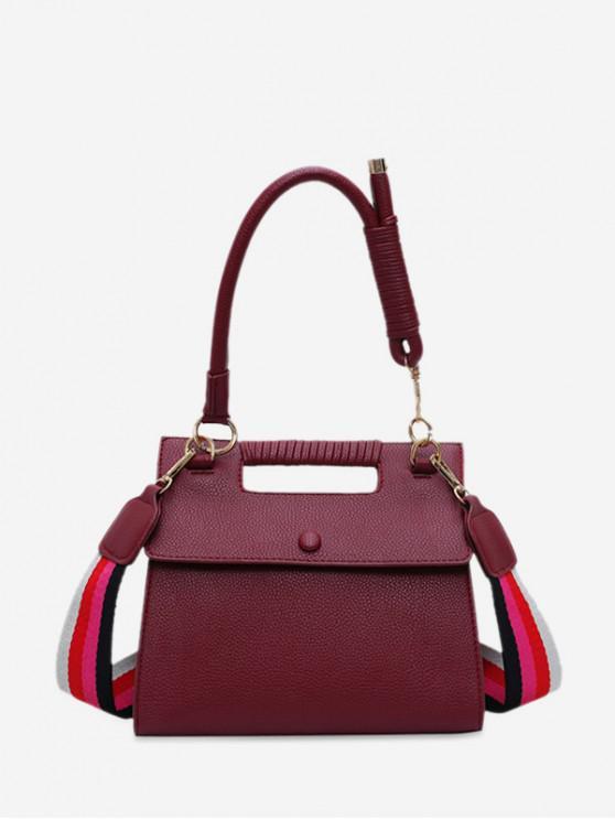 buy Cover Solid Square Big Shoulder Handbag - RED WINE