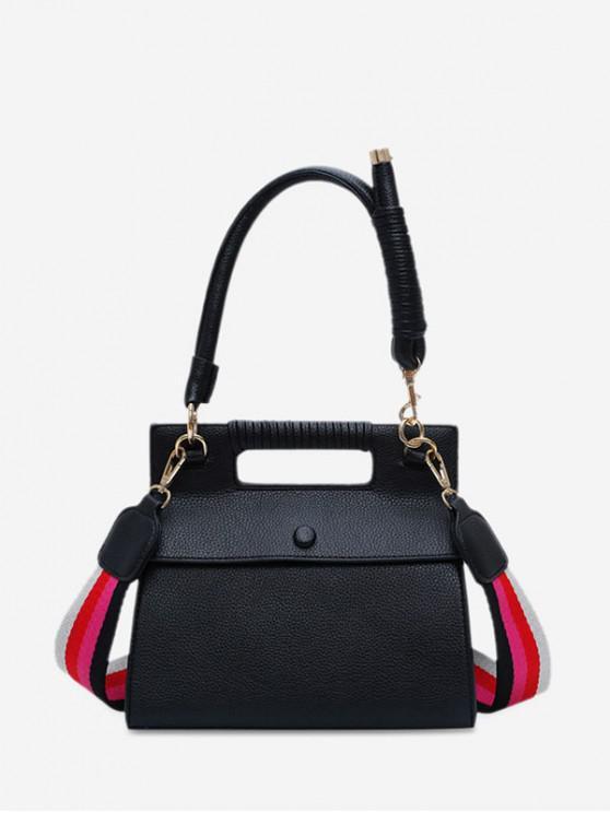 women's Cover Solid Square Big Shoulder Handbag - BLACK