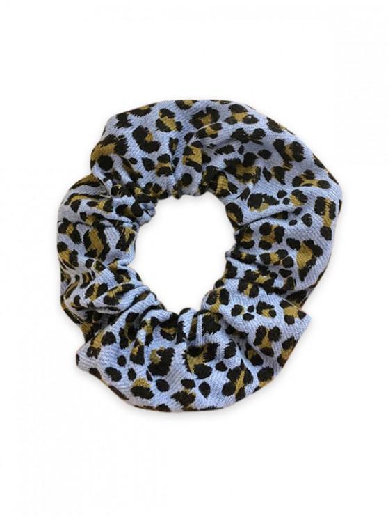 Patrón de leopardo de tela elástica Scrunchy - Azul