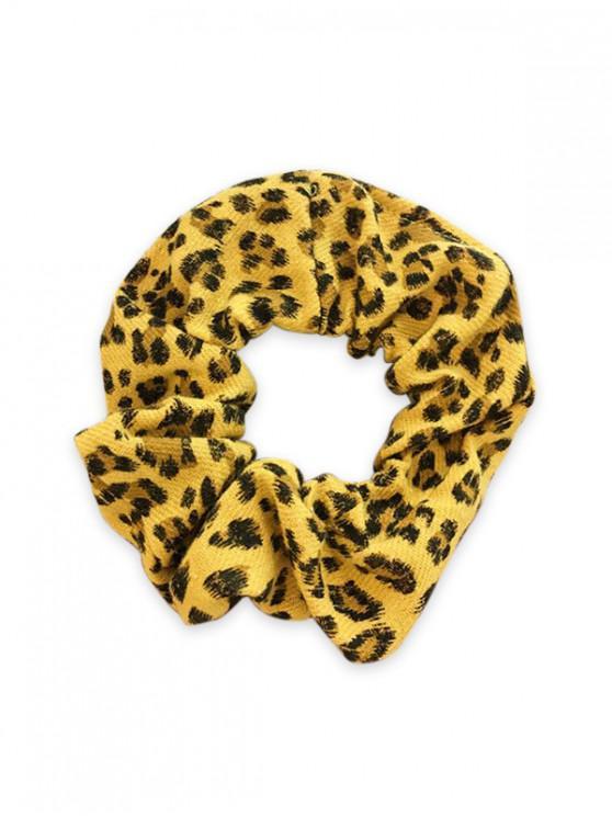 Patrón de leopardo de tela elástica Scrunchy - Amarillo