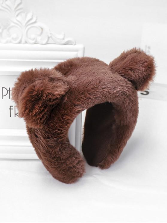 sale Faux Fur Animal Ear Wide Hairband - COFFEE
