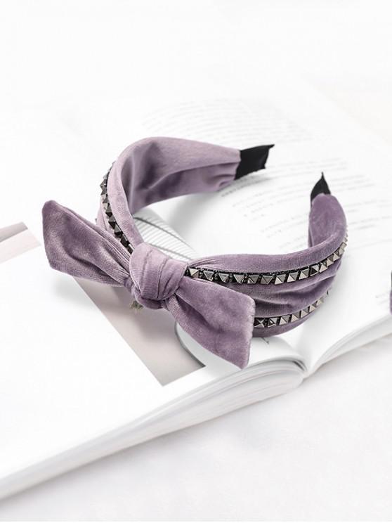 affordable Rivet Knot Velour Fabric Wide Hairband - PURPLE