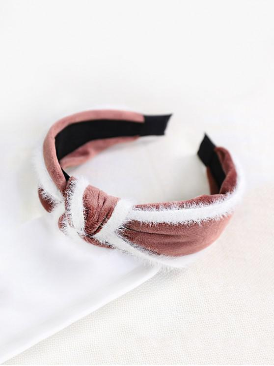 new Faux Fur Knot Wide Fabric Hairband - PINK