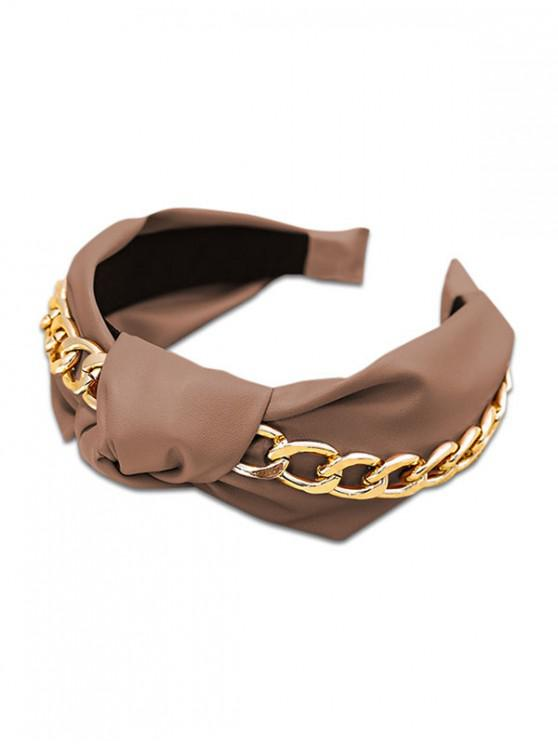 outfit Knot Chain PU Wide Hairband - BROWN