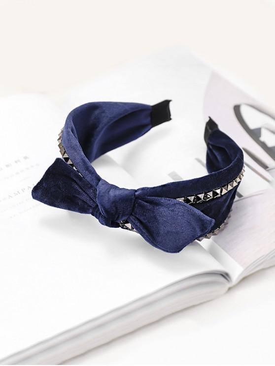 outfits Rivet Knot Velour Fabric Wide Hairband - BLUE