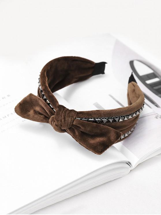 shops Rivet Knot Velour Fabric Wide Hairband - COFFEE