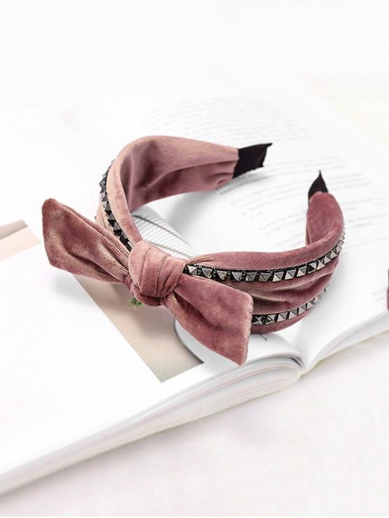 trendy Rivet Knot Velour Fabric Wide Hairband - PINK