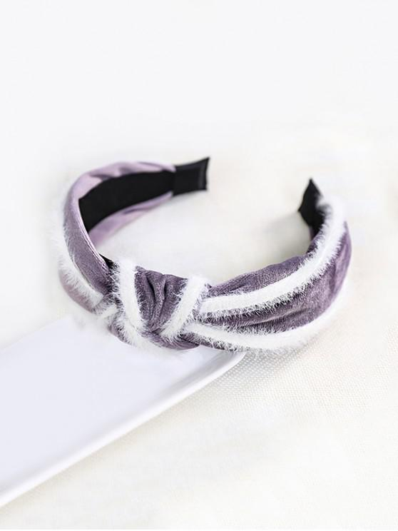 unique Faux Fur Knot Wide Fabric Hairband - PURPLE