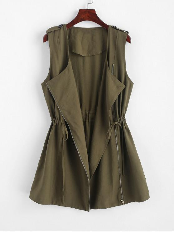 Gilet lungo con cerniera e linguette con bottoni con coulisse ZAFUL - Verde Dell'esercito XL