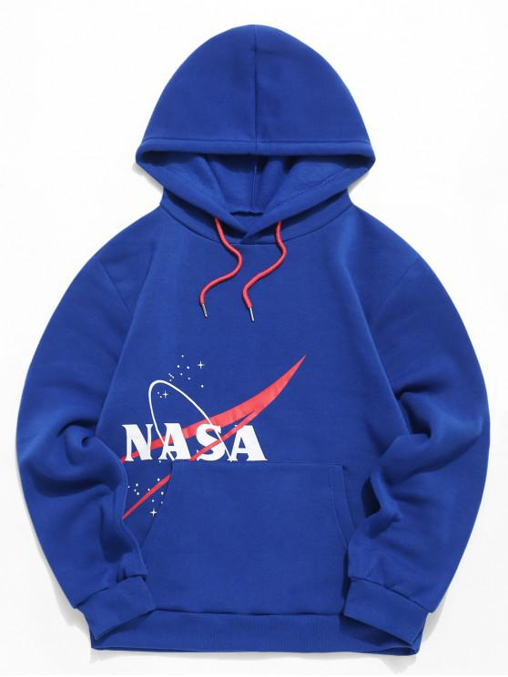 womens Letter Pattern Casual Drawstring Hoodie - BLUE L