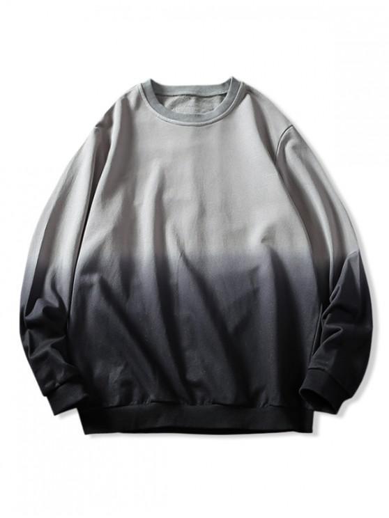 fancy Ombre Letter Graphic Patchwork Sweatshirt - GRAY CLOUD L