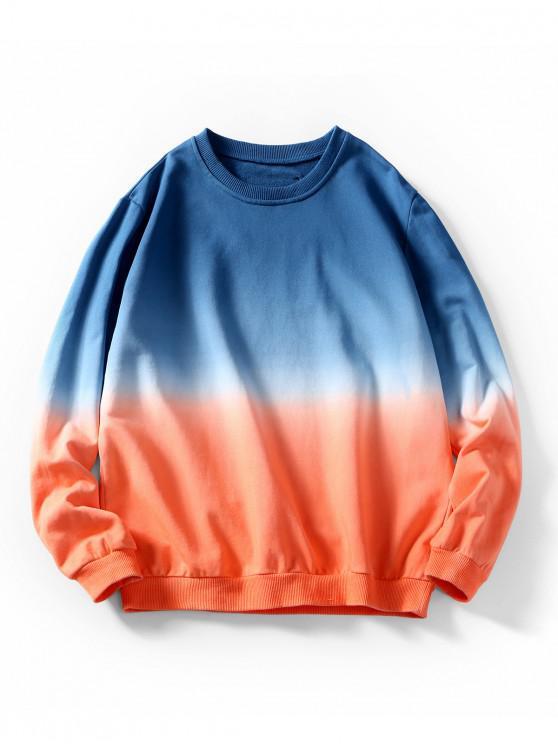 オンブルレターグラフィックパッチワークスウェットシャツ - ブルーベリーブルー 2XL