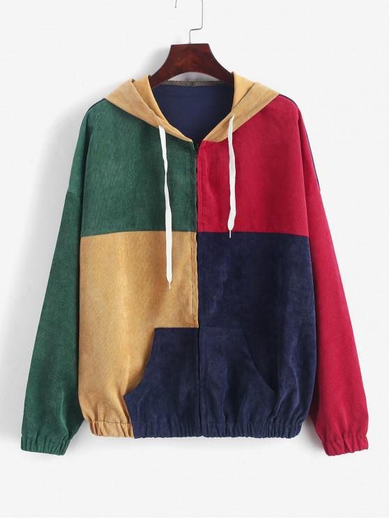 shop ZAFUL Zip Up Pockets Colorblock Corduroy Jacket - MULTI M