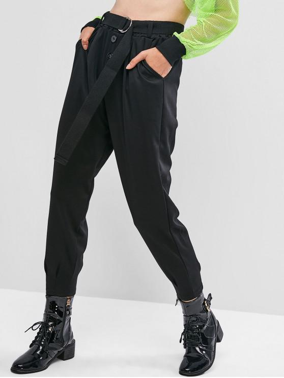 outfits Pocket Buttoned Belted Jogger Pants - BLACK L