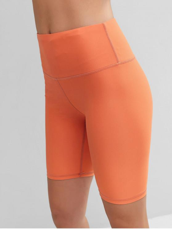 best Stitching Solid High Waisted Biker Shorts - PUMPKIN ORANGE L