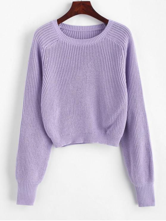women's Raglan Sleeve Crew Neck Pullover Sweater - PURPLE M