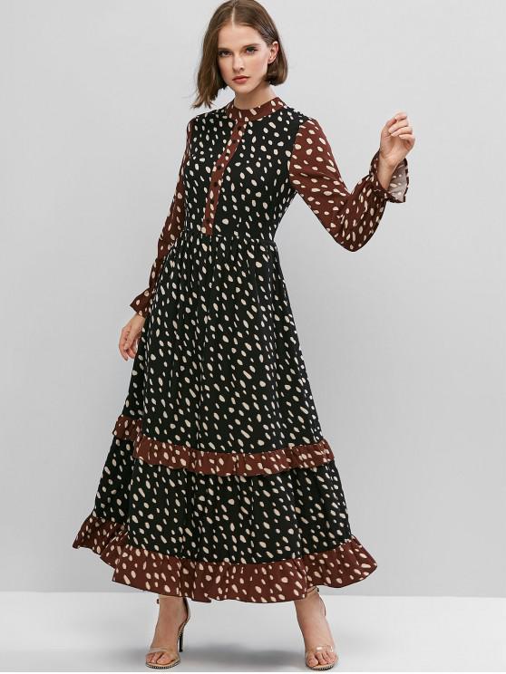 shop Contrast Trim Poet Sleeve Ruffle Hem Long Dress - BLACK XS