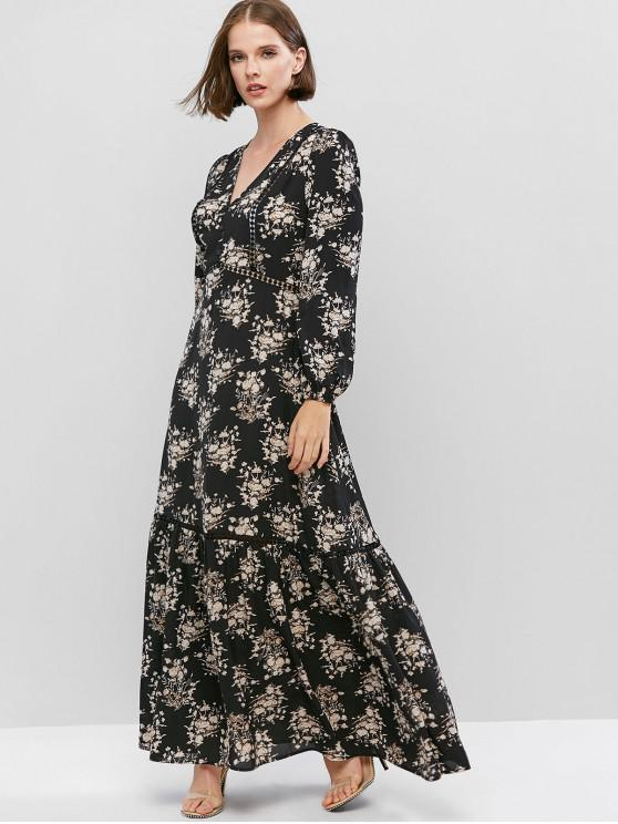 unique ZAFUL V Neck Floral Print Crochet Trim Maxi Dress - BLACK XS
