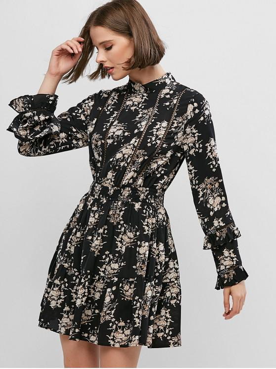 affordable Floral Print Crotchet Trim Long Sleeve Mini Dress - BLACK M
