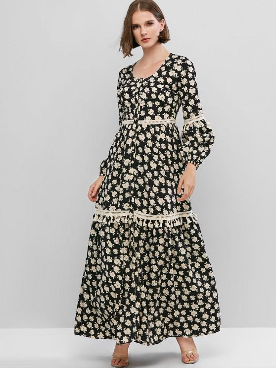 women ZAFUL Lantern Sleeve Crotchet Trim Button Up Maxi Dress - BLACK XS