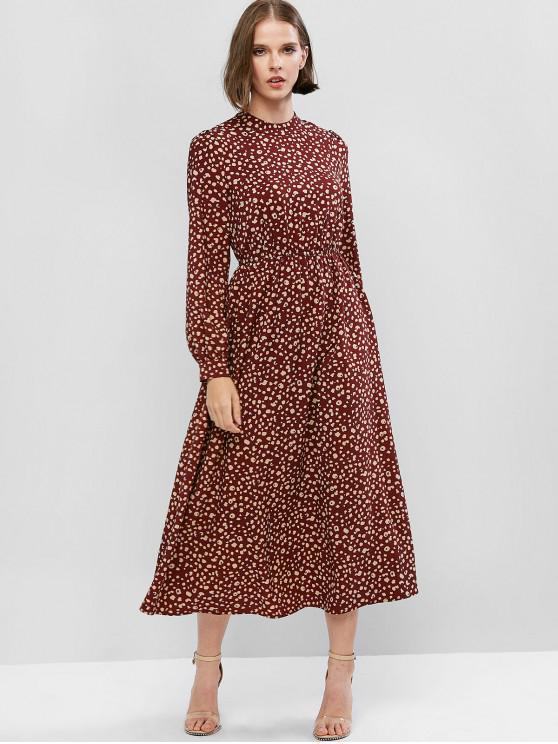 lady ZAFUL Printed Long Sleeve Maxi Flowing Dress - BROWN L