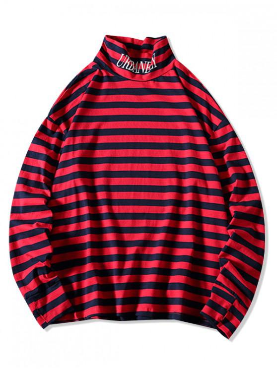 shop Colorblock Stripes Letter Graphic High Collar T-shirt - RED XL