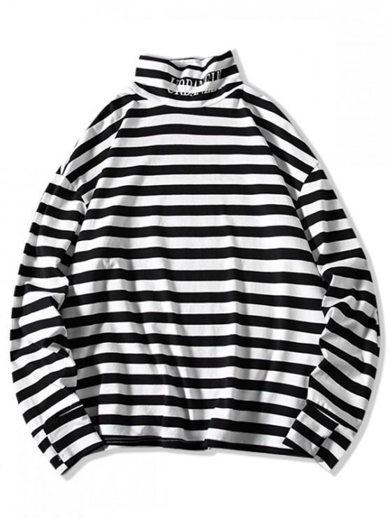 T-shirt Rayé Lettre Graphique en Blocs de Couleurs à Col Haut - Blanc 4XL