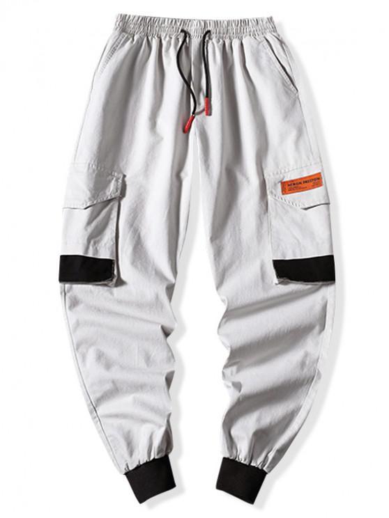 lady Colorblock Flap Pocket Applique Drawstring Jogger Pants - GRAY XS