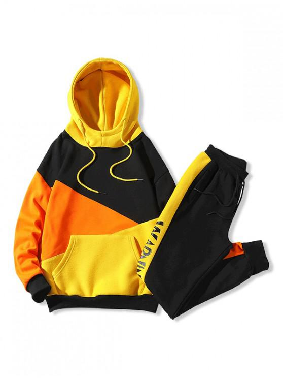 hot Color-blocking Letter Graphic Drawstring Gym Suit - YELLOW L