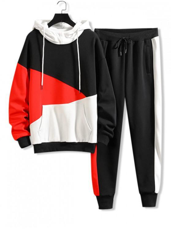 shop Color-blocking Letter Graphic Drawstring Gym Suit - WHITE M