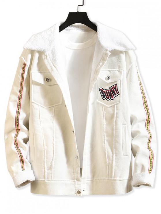 outfits Letter Chips Patchwork Spliced Chest Pokcet Faux Fur Jacket - WHITE S