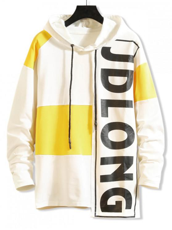 online Letter Graphic Contrast Color Asymmetrical Hoodie - WHITE S