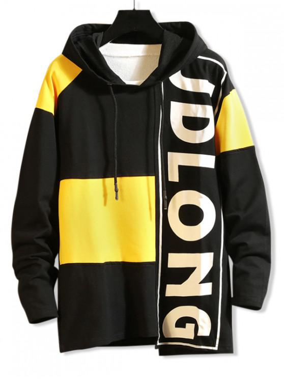online Letter Graphic Contrast Color Asymmetrical Hoodie - BLACK S