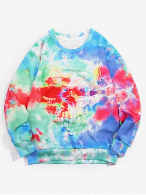 shop Tie Dye Skull Pattern Casual Sweatshirt - MULTI 3XL