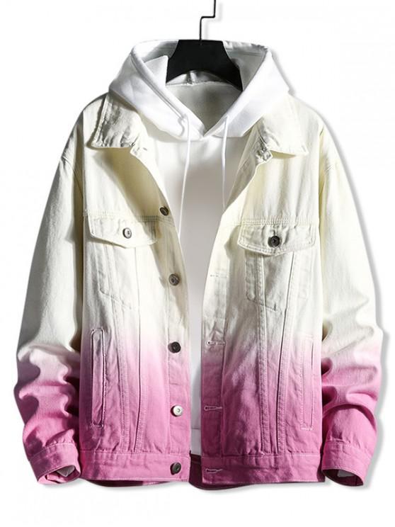 Джинсовая Куртка На пуговицах - Розовый 2XL