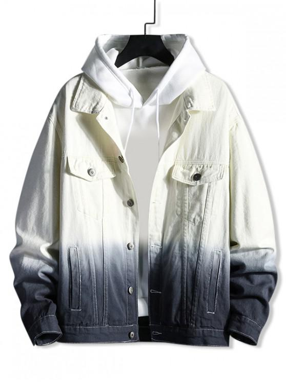 lady Dip Hem Button Up Denim Jacket - BLACK XL