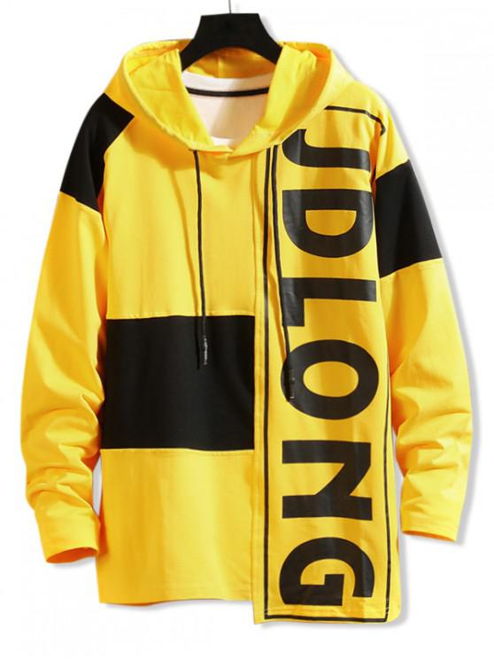 hot Letter Graphic Contrast Color Asymmetrical Hoodie - YELLOW XS