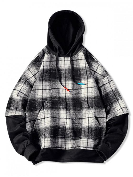affordable Plaid Contrast Color Spliced Faux Twinset Hoodie - WHITE M