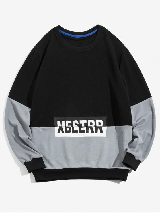 women Letter Graphic Colorblock Splicing Pullover Sweatshirt - BLACK S