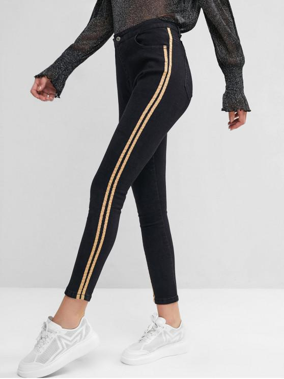 online High Waisted Striped Side Skinny Jeans - BLACK S