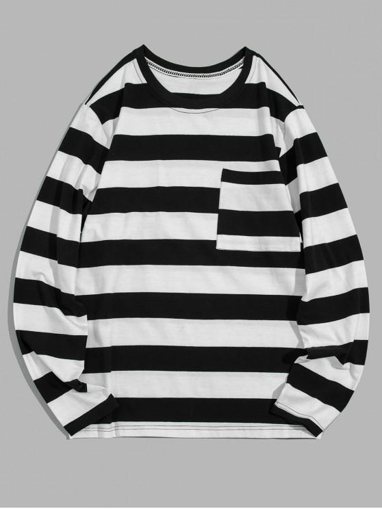 women Colorblock Striped Chest Pocket Long Sleeve T-shirt - WHITE L