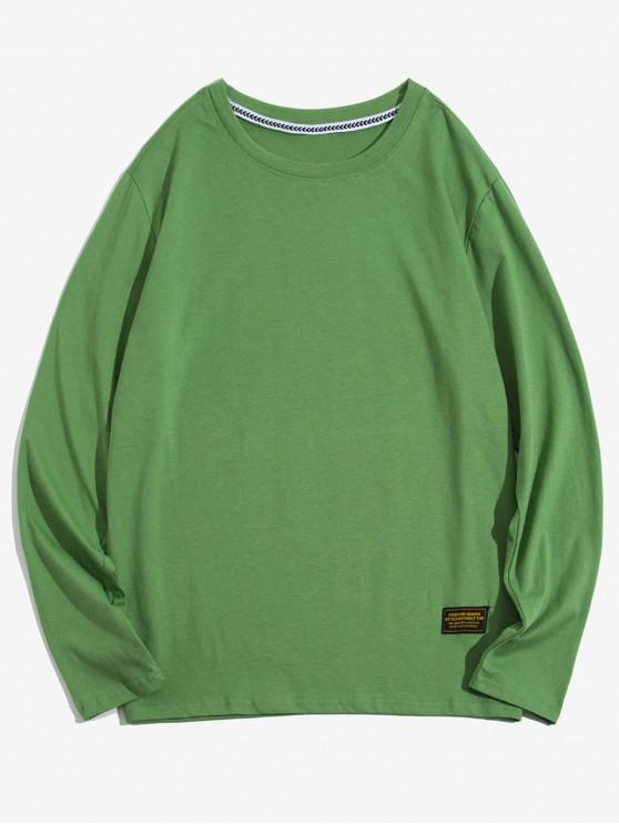 hot Solid Color Applique Round Neck Basic T-shirt - SEAWEED GREEN L