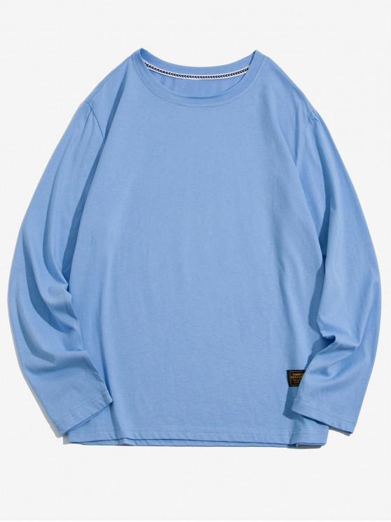 outfit Solid Color Applique Round Neck Basic T-shirt - SKY BLUE L