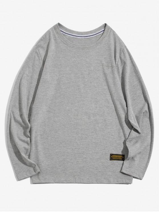 shop Solid Color Applique Round Neck Basic T-shirt - LIGHT GRAY M