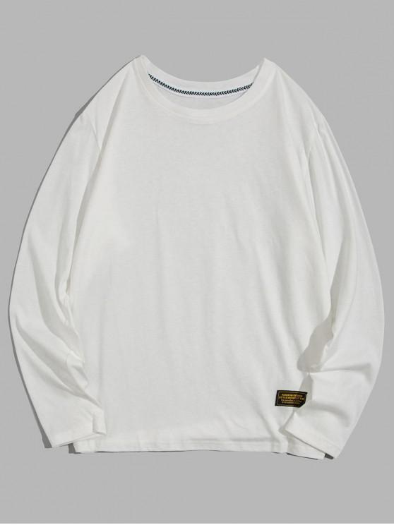 sale Solid Color Applique Round Neck Basic T-shirt - WHITE S
