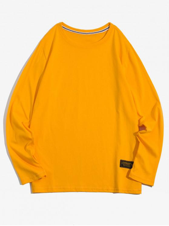 lady Solid Color Applique Round Neck Basic T-shirt - YELLOW M