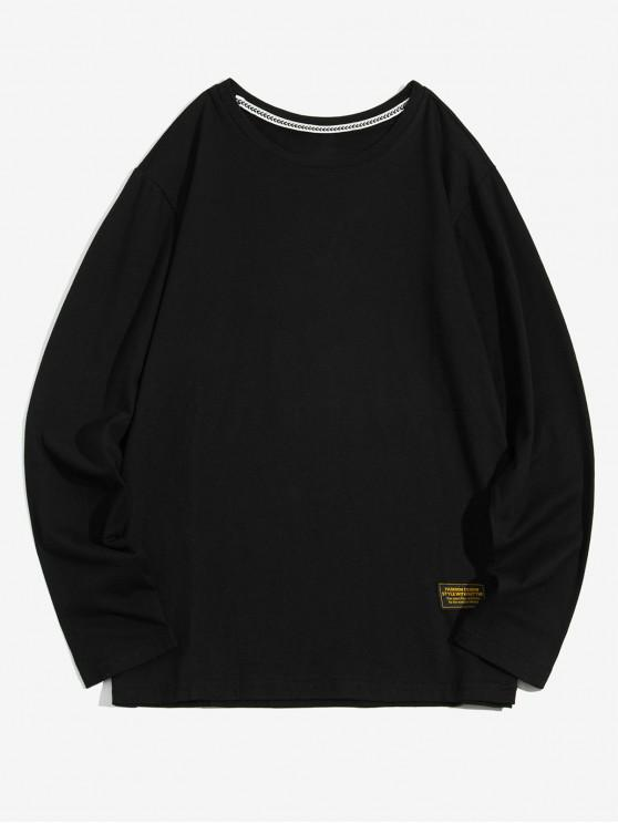 online Solid Color Applique Round Neck Basic T-shirt - BLACK S