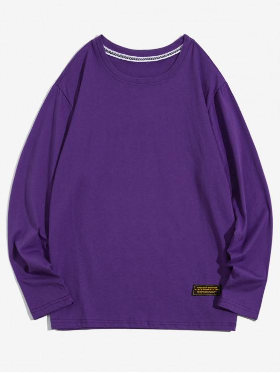 fashion Solid Color Applique Round Neck Basic T-shirt - PURPLE S